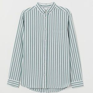 H&M Green Striped Button Down
